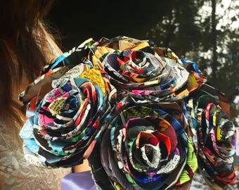 Comic Book Paper Rose Bouquet, Super Hero Wedding Bouquet, Custom Paper Flower Bouquet, Paper Wedding Flowers, Dallas Handmade Paper Flowers