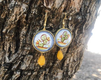Sicilian Jewelry - Hand-painted Caltagirone ceramic tile pendant earrings