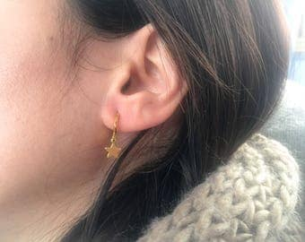 Mini brass hoop earrings with pendants