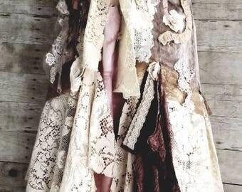 Pink Sunshine Shabby Autumn Chic mori Lace fiber textile art Cardigan vest Jacket Shrug Sweater Top Embellished crochet ruffle bolero Small