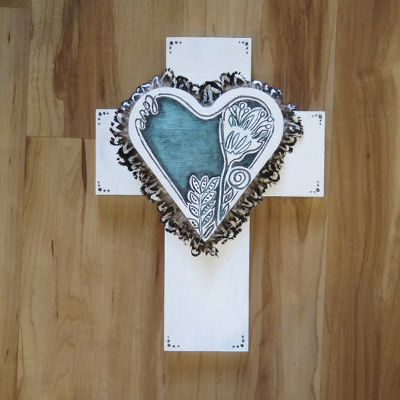 Crucifix 'Frida Flower' Emerald Heart with feathers Wall Art, White black Boho Design,  Timber