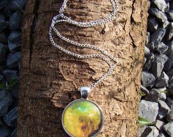 Yellow Nebula Cabochon Charm Necklace