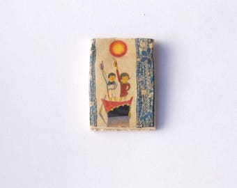 Japanese Childrens Book Illustration, Takeo Takai, Ceramic decal, indie jewelry supply, square pendant,vintage decal image, Donna perlinplim