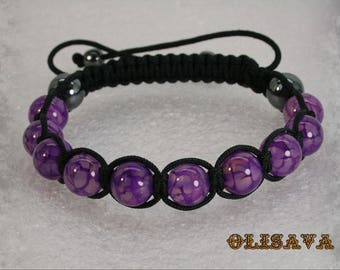 Beautiful handmade women's Shamballa bracelet  with 10 mm Purple Dragon Veins Agate beads  with black  cord , stone bracelet