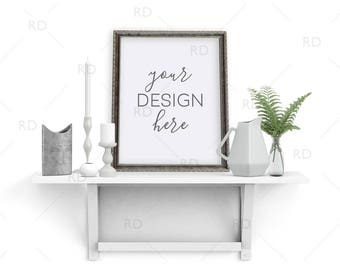 "Items on White Shelf with Silver Frame Mockup / Styled Stock Photography / 8""x10"" Frame PNG / Candles Vase and Plant on Shelf with Frame"