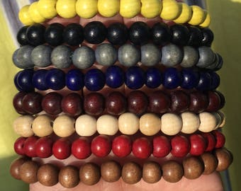 wood bead bracelets custom stretch bracelets mens wooden bracelets stackable bracelets mix and match bracelets women's bracelets unisex