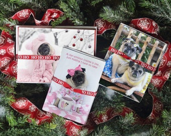 GIFT Pack 5 - The Zoe - 10 Xmas Cards 10 Notecards 5 Magnets Gift Pack - Gifts for Pug Lovers - by Pugs and Kisses