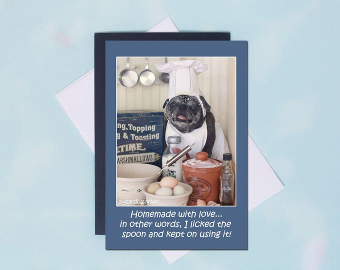 Pug Magnet - Homemade with Love - 4x6 Pug magnet - by Pugs and Kisses