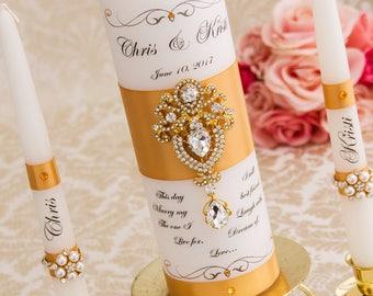 Wedding Unity Candle Set, Gold Unity Candle Set Personalized Candle Ceremony Unity Candles Set, Crystal Wedding Candle Set, Pillar Candle