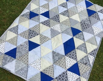 baby boy quilt , Modern baby boy quilt ,mat for baby ,car seat blanket ,modern quilt ,toddler quilt,gray and blue ,52 x 41 inch