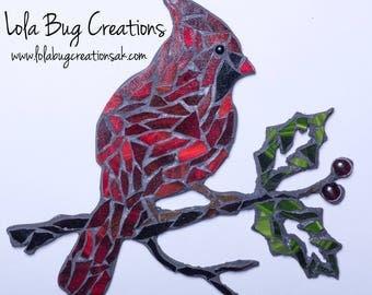 Cardinal || Mosaic Cardinal || Glass Art || Made in Alaska