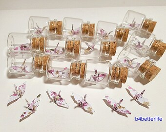 Lot of 12pcs Floral Design 1-inch Hand-folded Paper Crane In A Mini Glass Bottle With Cork. (JD paper series). #CIB12n.