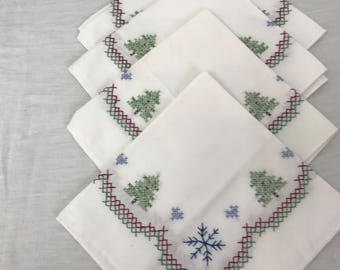 Hand Embroidered Christmas Napkins, Set of 4
