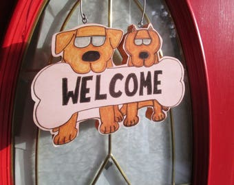 Welcome Sign with Dogs - Original Design
