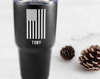 Personalized American Flag Powder Coated Tumbler - 30 oz. Vacuum Insulated Black Stainless Steel Polar Camel Tumbler