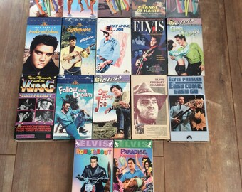 17 Elvis Presley Tapes/Elvis presley VCR Tapes/ Vintage Elvis Tapes