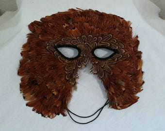 Vintage Feathered Owl Mask with Gorgeous Real Feathers