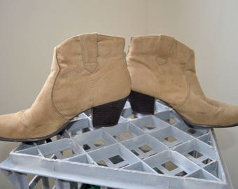 Faux suede light brown heeled ankle boots- 38/8