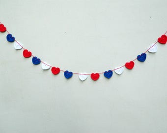 Crochet garland heart decor cotton bunting summer wedding garland 4th of July red white blue patriotic wall decor baby shower gift garland
