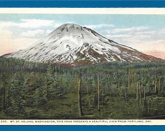 Vintage Postcard -  Mount Saint Helens Washington and the Peak Presents a Beautiful View From Portland, Oregon  (2585)