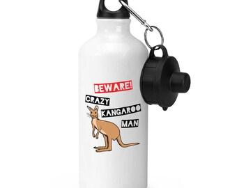 Beware Crazy Kangaroo Man Sports Bottle