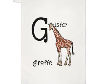 Letter G Is For Giraffe Tea Towel Dish Cloth