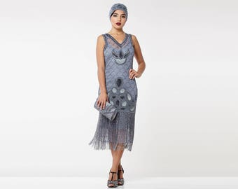PRE ORDER Victoria Lilac Flapper Dress with sleeves Slip Included 1920s Great Gatsby Art Deco Charleston Downton Abbey Bridesmaids Wedding