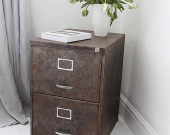 Narrow Reclaimed Vintage Urban Industrial Chic 1950s Stripped Down and Distressed Bare Steel 3 Drawer Filing Cabinet with Silver Handles