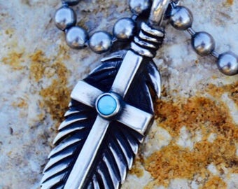 Turquoise Feather of Faith Pendant