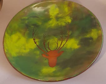 Scottish stag, highland decoration, glass centrepiece, decorative glass, country design, wildlife art, glass bowl