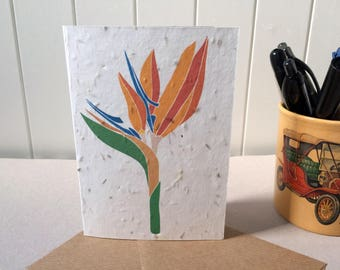 Bird of Paradise - Plantable Card - Seed Paper - Valentine's Day Card - Mother's Day Card - Exotic Flower - Wedding Invitation - Vegan