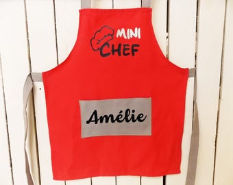 """Kid's apron personalized """"Mini Chef"""" coral and grey with the child's name. Cotton fabric - handmade"""