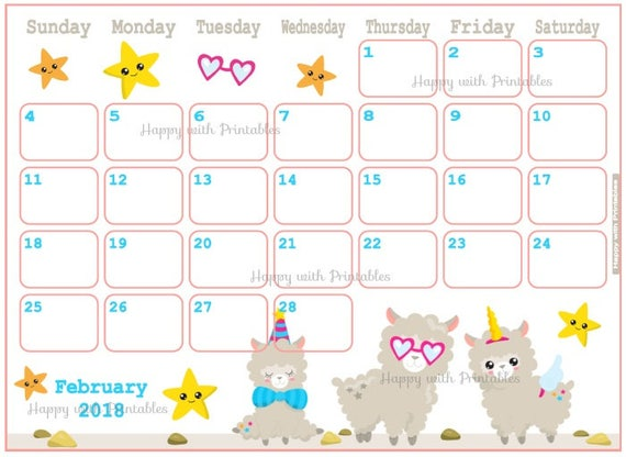 February 2018 Calendar Kindergarten : Calendar february cute lama planner printable