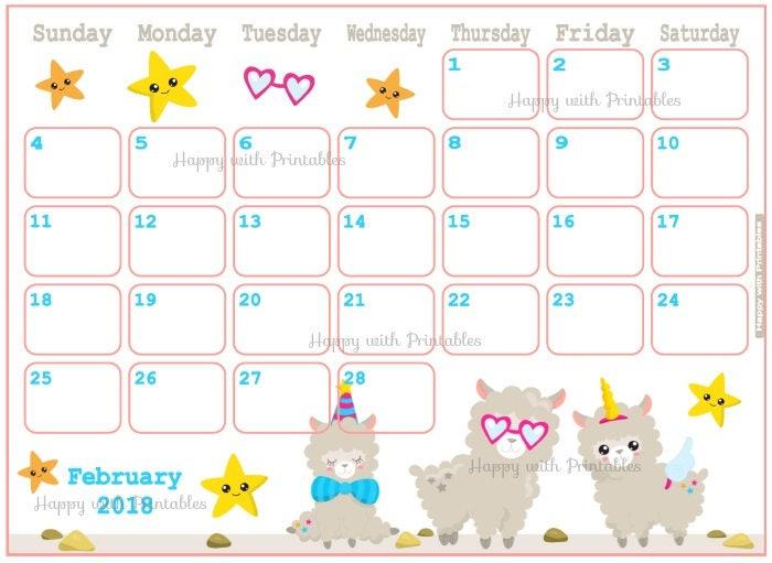 Calendar February 2018 Cute lama Planner Printable Cute