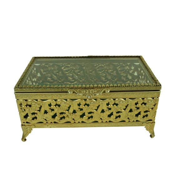 Vintage Ornate Gold Avon Jewelry Box Hinged Trinket Display