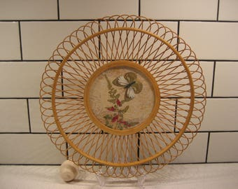 40% OFF SALE // Vintage Wooden Woven Tray - Delicately crafted - Lace background - Butterfly & Ferns behind glass - Bamboo - Lovely Display