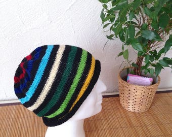 Trendy man or teen hat in Merino Wool and cashmere, multicolor