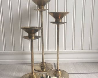 Brass Candlesticks, Foundry Collection, Large Candlesticks, Set Of Candlesticks, Solid Brass, Candlestick Lot, Gradient Sized Candelsticks