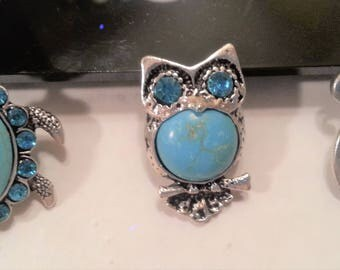 NOOSA TURQUOISE CHARMS,Snap Chunk,Ginger Snap,Rhinestone Charms,Snap Buttons,,Cat,Owl,Turtle,Turquoise Snap Buttons,Interchangable Jewelry