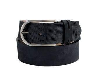 Free shipping! Mens blue belt, blue leather belt, embossed leather belt, mens embossed belt, men's nubuck belt, mens navy belt, gift for him