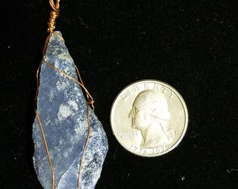 Blue Quartz Copper Pendant