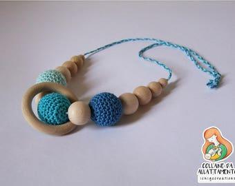 Nursing necklace turquoise blue cotton Wood