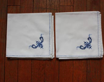 4 Vintage White Napkins with Blue Cross Stitching