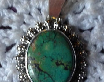 Green Turquoise with Black and Brown Matrix Pendant