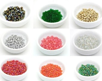 10 oz of 3 glass seed beads and 4mm //coloris choice