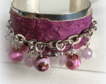 Silver and Pink Leather Charm Cuff