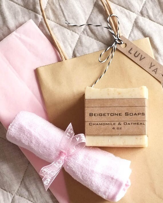 "Chamomile & Oatmeal Three-Bar Set (4oz)  with Super Soft Pink Bamboo Washcloth, Kraft Paper Bag, ""Love Ya"" Tag and Pink Tissue Paper"