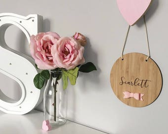 Custom Bow Name Plaque | Nursery & Kids Decor