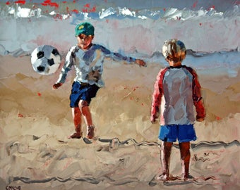 Palette Knife   Oil Paintings   Wall Art   Painting   Beach   Beach Soccer   Sport   Figurative   Impressionist   Nursery Art   Gift For Him
