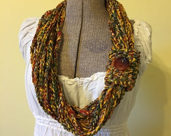 Chunky Chain Scarf, Crochet Scarf, Handmade Crochet Cowl, Fall Colors Scarf, Pullover Scarflet, Green Gold Brown, Soft